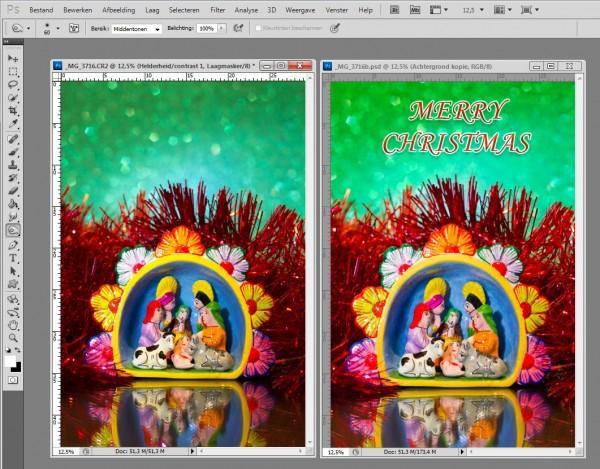 screenshot photoshop, kerstkaart